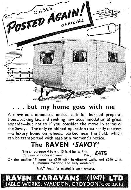 Raven Caravans For Service Personnel (Jablo)  1950