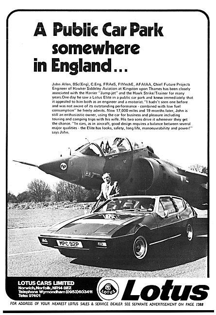 Lotus Elite Advert 1977 - MPC 92P