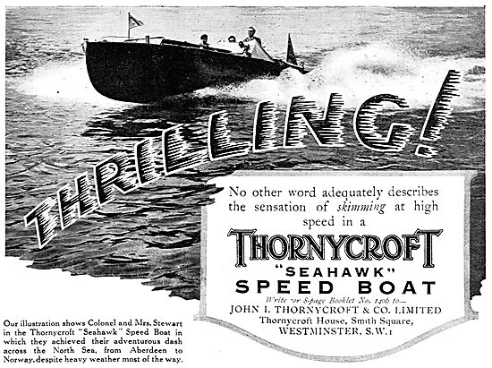 Thornycroft Seahawk Speed Boat 1929 Advert