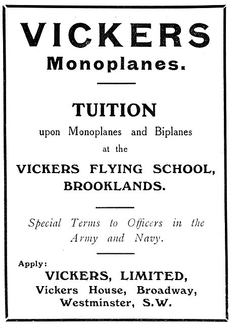Vickers Monoplanes & Brooklands Flying School