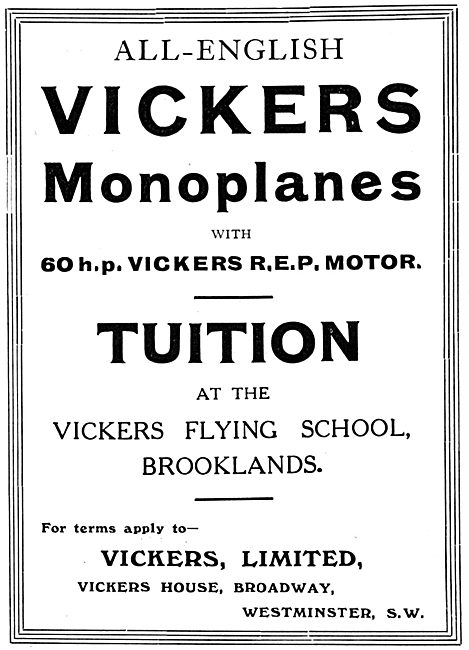 Vickers Monoplanes & Flying School 1912