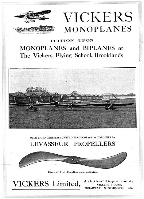 Vickers Monoplanes, Biplanes & Brooklands Flying School