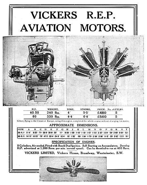 Vickers R.E.P. Aviation Motors. Vickers REP Aero Engines