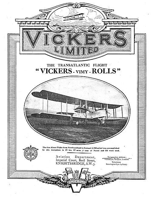 Vickers Vimy Rolls Royce - First Direct Atlantic Flight.
