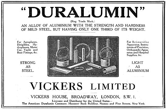 Vickers Duralumin 1919 Advert
