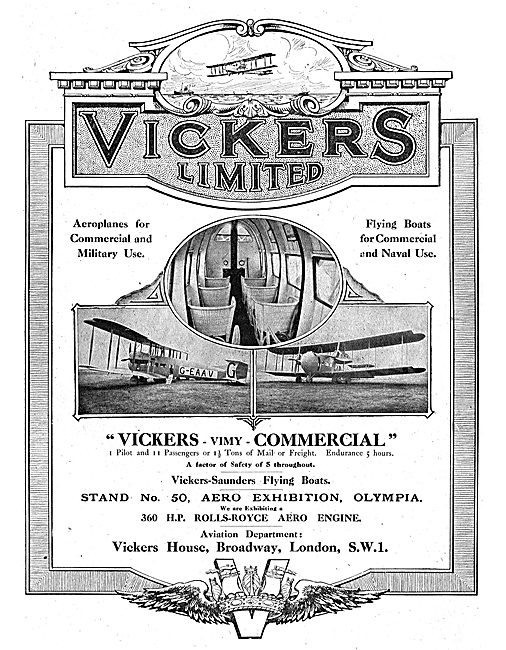 Vickers Aeroplanes For Commercial Use - Vimy G-EAAV