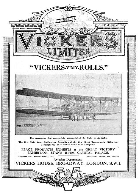 Vickers Vimy 1920 Advert