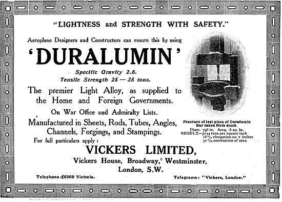 Vickers Duralumin - The Premier Light Alloy - Supplied To HM Govt