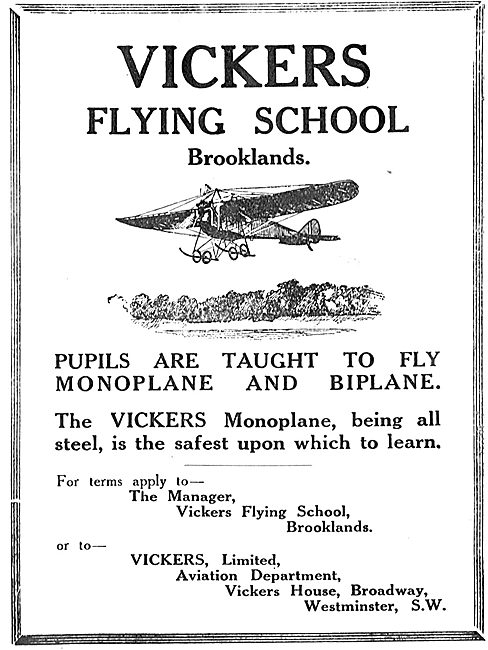 Vickers Flying School Brooklands - Safe Aircraft To Learn On