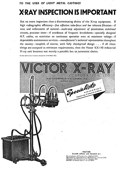 Victor X-Ray Industrial X-Ray Equipment 1943 Advert