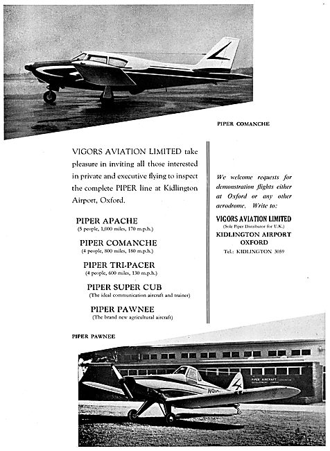 Vigors Aviation - Piper Aircraft Range 1959