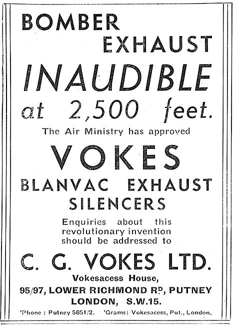 Vokes Blanvac Exhaust Silencers For Aircraft Engines