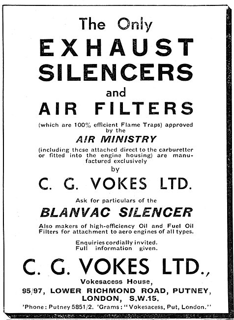 Vokes Aero-Engine Exhaust Silencers - Flame Traps