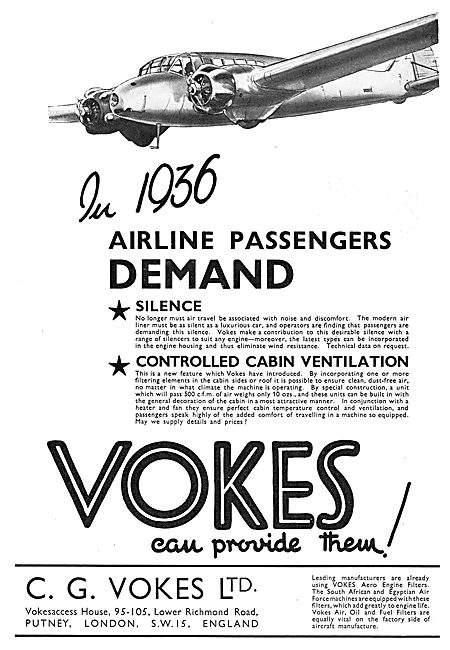 Vokes Air Filters For Aircraft Systems