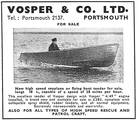 Vosper Motor Launches & Seaplane Tenders