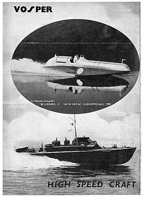 Vosper High Speed Watercraft 1939