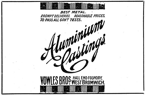 Vowles Bros. West Bromwich. Aluminium Castings