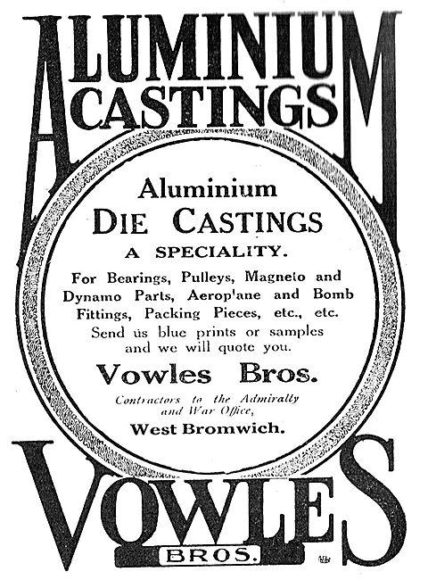 Vowles Bros. West Bromwich. Aluminium Castings