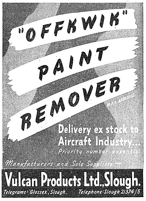 Vulcan Products. Slough. Offkwik Paint Remover