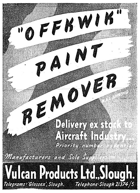 Vulcan Products. Slough. Offkwik Paint Remover 1943