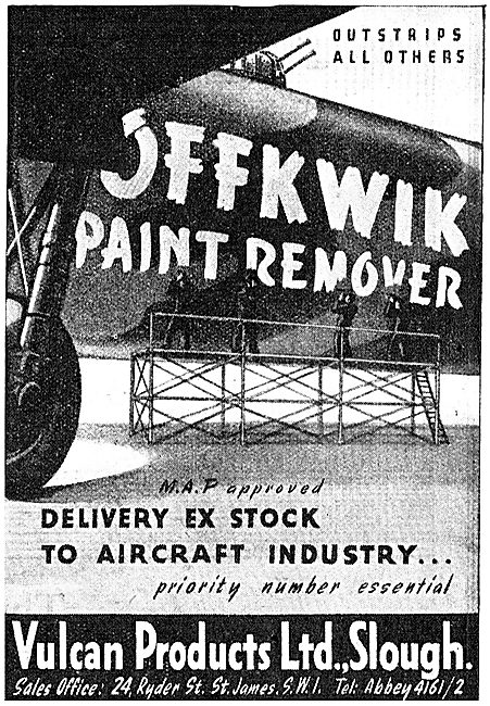Vulcan Products. Slough. Offkwik Paint Remover 1843 Advert