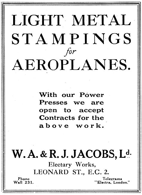 W.A & R.J. Jacobs Ltd  - Light Metal Stampings For Aeroplanes