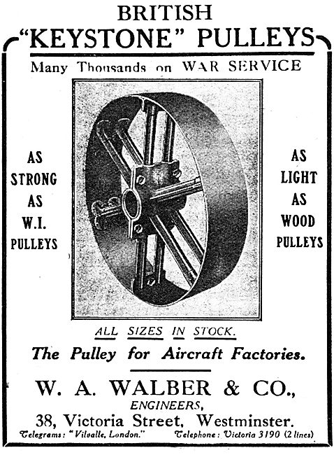 W.A.Walber & Co - Keystone Pulleys For Aircraft Factories