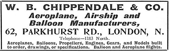 W.B.Chippendale & Co: Aeroplane, Airships & Balloons Constructed
