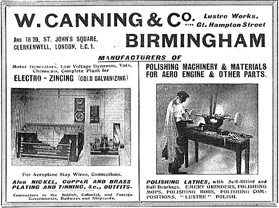 W.Canning & Co. Electro-Zincing & Machinery For Aero Constructors