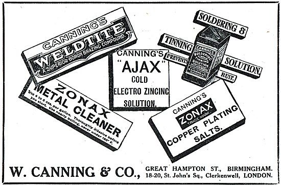 W.Canning & Co - Weldite, Zonax, Ajax. Tinning Solder