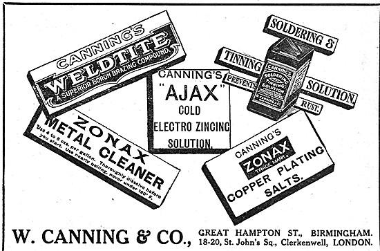 W.Canning Metal Treatment products. AJAX ZONAX WELDITE