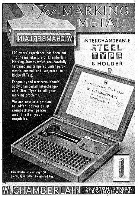 W.Chamberlain. Metal Marking Tool Sets.38 Aston Street, Birmingha