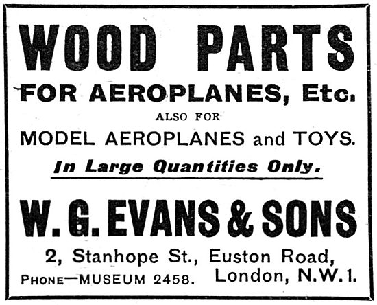 W.G.Evans & Sons. Wood Parts For Aircraft - 1919