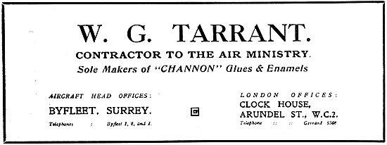 W.G.Tarrant - CHANNON Aero Glues & Enamels. 1919