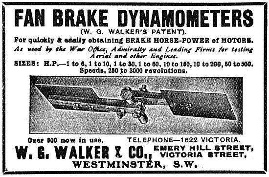 W.G.Walker & Co - Fan Brake Dynamometer. - 1917