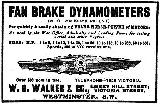 W.G.Walker & Co - Fan Brake Dynamometer.. 1918 Advert