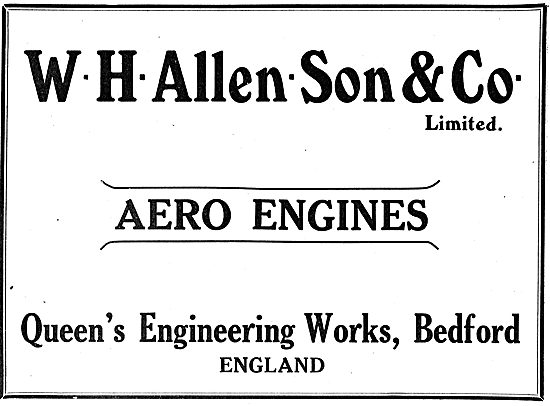 W.H.Allen & Son Aero Engines. Queens Engineering Works Bedford