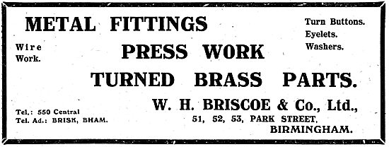 W.H.Briscoe - Park St, Birmingham. Metal Fittings For Aircraft