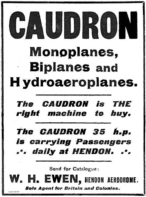 W.H.Ewen For Caudron Monoplanes, Biplanes & Hydroaeroplanes