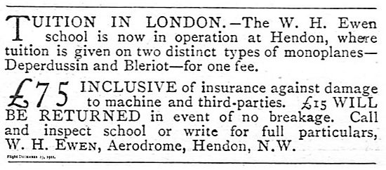W.H.Ewen School London Aerodrome Hendon: Flying Tuition In London