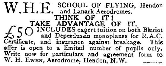 W.H.Ewen WHE School Of Flying Hendon & Lanark Aerodromes