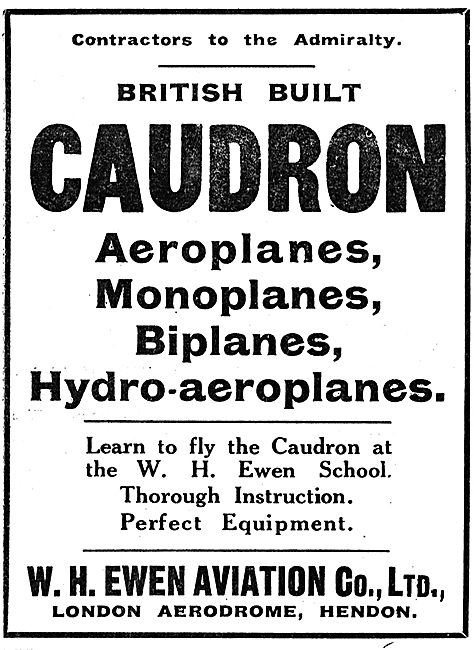 Learn To Fly At The Ewen School  British Built Caudron Aeroplanes