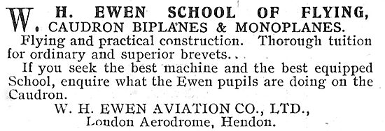 W.H.Ewen School Of Flying  - Learn To Fly On Caudrons At Hendon