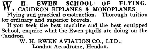 W.H.Ewen School Of Flying Hendon. Learn On Caudron Aeroplanes