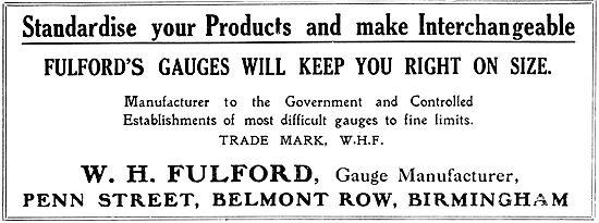 W.H.Fulford. Gauge Manufacturer. Engineering Limit Gauges