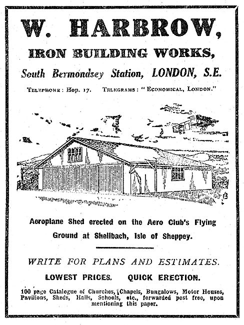 W.Harbrow Iron Building Works: Aeroplane Sheds Designed & Erected