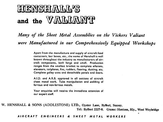 W. Henshall Sheet Metal Assemblies. Henshall Galley Equipment