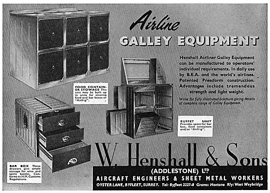 W. Henshall Buffet Units & Food Stowage Units For Airliners
