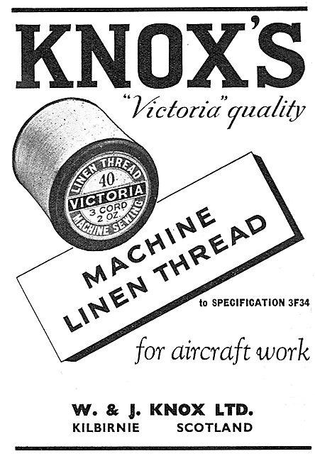 W & J.Knox, Nachine Linen Thread For Aircraft Work 1939