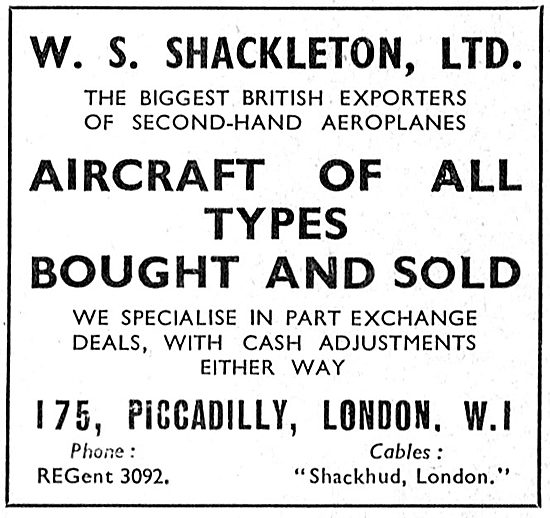 W.S.Shackleton - Aircraft Sales